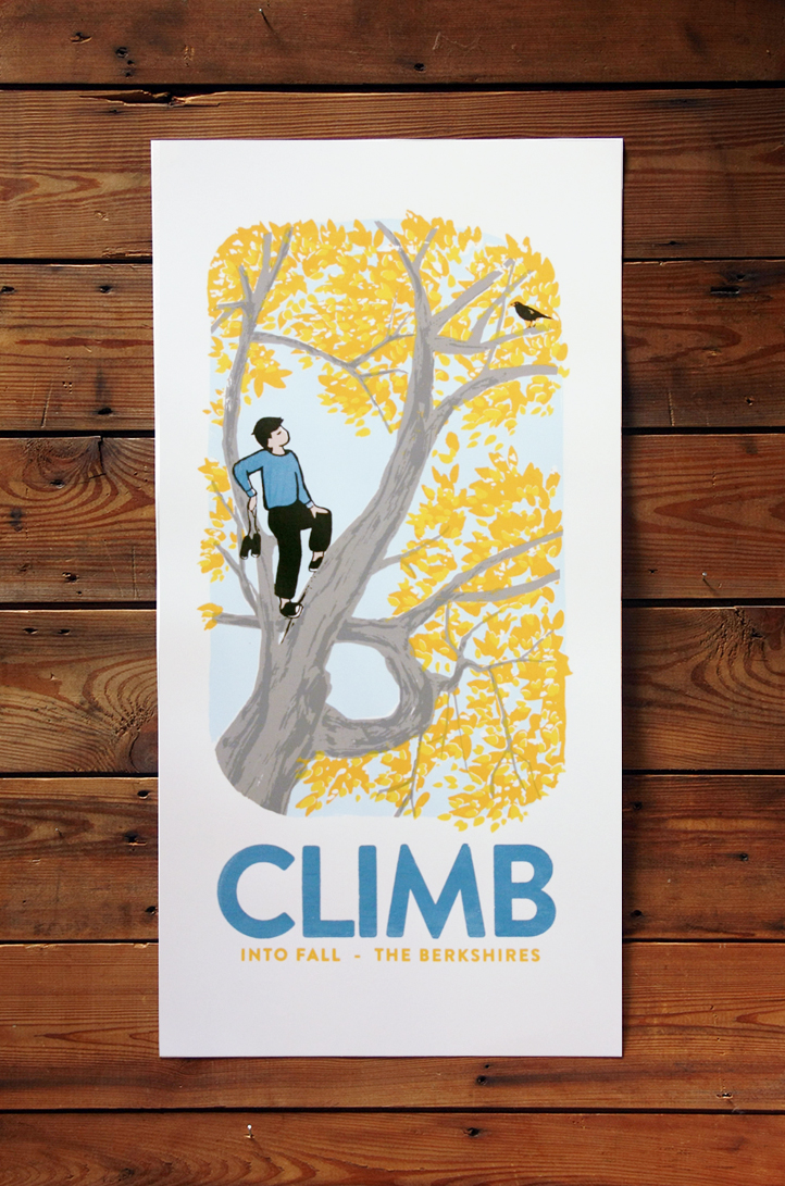 Climb into Fall screen printed poster 5 colors